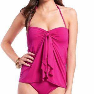 Ralph Lauren pink flyaway one-piece swimsuit